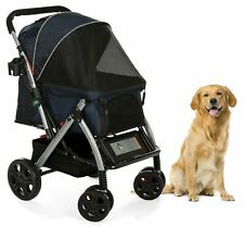 PET ROVER™ Premium Stroller for Small/Medium/Large Dogs, Cats and Pets (Navy Blu
