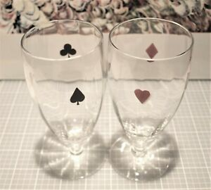 """PLAYING CARD SUIT motif crystal GLASSES Bar Ware 5 3/4"""" Footed Highball Pilsner"""