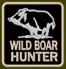 """WILD BOAR HUNTER EMBROIDERED PATCH ~3"""" x 2-7/8"""" ANIMAL PIG WILD SCHWEIN HOG PORK"""