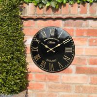 Grande 38cm Oro Negro Exterior Jardín Reloj De Pared Pintado a mano Iglesia