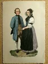 "Vintage Postcard signed Hans Schaer 4"" x 6"" Man and Woman in costume Switzerland"