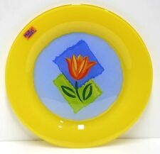 Matys Cristal DÁrques Durand Glass Buffet Plate Yellow Tulip Arcoroc France NEW