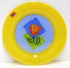 Matys Cristal DÁrques Durand Glass Buffet Plate Yellow Tulip Arcoroc France NEW