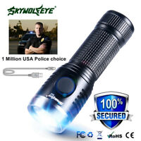Tactical Military Mini USB Rechargeable XPE LED Flashlight Police Torch Lamp