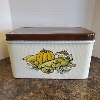 Bread Box Vintage Tin Metal Brown lid vented