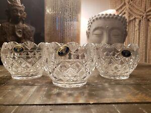 Bohemia Crystal Small Bowls, Beautiful Condition,  Set Of 3