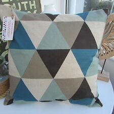 CUSHION COVER GEOMETRIC RETRO TRIANGLES DUCK EGG BLUE TEAL GREY TAUPE BROWNS C_