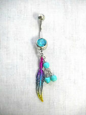 HOT PINK BLUE YELLOW FEATHER & 3 BLUE BEADS on 14g TURQUOISE COLOR CZ BELLY RING