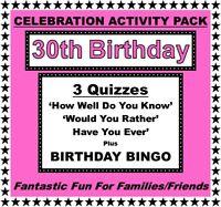 /'HAS SHE EVER/' 30th Birthday Girl Game-10 Sheets-Fun Celebration Quiz!
