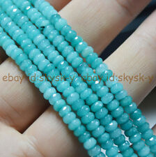 "Fine! 2x4mm Faceted Blue Brazilian Aquamarine Gems Loose Beads 15"" Strands"