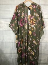 Lane Bryant One Size NWT Wrap Ruana Green Floral Msrp $50