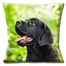 "NEW CUTE BLACK LABRADOR LAB PUPPY CLOSE UP PHOTO PRINT  16"" Pillow Cushion Cover"