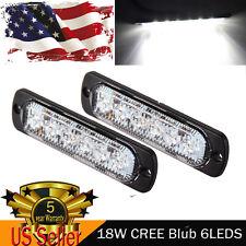 2PCS 18W CREE 6LED White Ultra thin Emergency Hazard Warning Strobe Light Bar