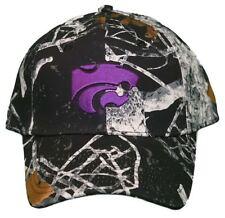 New! University of Kansas Wildcats Adjustable Buckle Back Black Gray Camo Cap