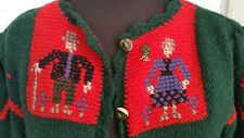 Schwaiger Handicraft Sweater Wool Folk Cross Stitch Sm Med VTG Costume Austria