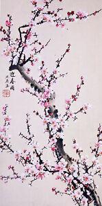 STUNNING ORIGINAL ASIAN ART CHINESE WATERCOLOR PAINTING-Plum blossom flowers