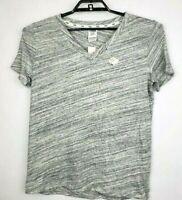Victoria's Secret PINK Short Sleeve Black Gray V-Neck Tee Shirt Size Medium NWT