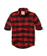 NWT Hollister Abercrombie Mens Guys Red black Plaid Flannel Button Up Shirt L