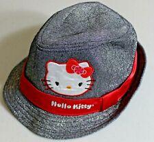 Hello Kitty Fedora - Black Shimmer w/ Red Ribbon - Sanrio Unisex/Youth One Size