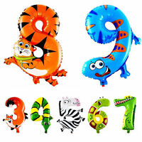 2x Animal Number Foil Balloons Kids Party Birthday Decor Ballon Child Gift Tools