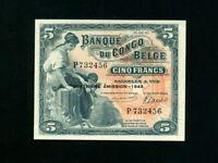 Belgian Congo:P-13Ab,5 Francs, 1943 * Woman W/ Child * AU-UNC *