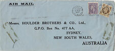 Stamps England 1/- & 3d perfin HB & Co on cover sent 1947 to Sydney Australia