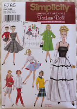 """11 1/2""""  FASHION DOLL CLOTHES Simplicity Sewing Pattern 5785 NEW Uncut Retro"""