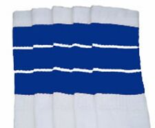 "22"" KNEE HIGH WHITE tube socks with ROYAL BLUE stripes style 5 (22-149)"
