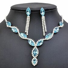 Amazing Sky Blue Bridal Evening Jewellery Set Drop Earrings and Necklace S421