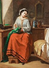 19th Century Scottish Portrait Of A Lady Sewing In A Bedroom Thomas FAED