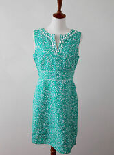 Tahari ASL Levine Teal Turquoise Blue White Floral Beaded Sheath Dress 8P P8