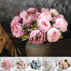 13 Heads Silk Peony Artificial Fake Flowers Wedding Bouquet Home Party Decor