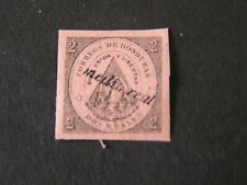 HONDURAS, SCOTT # 19, 1/2r SUrCHARGED ON 2r PINK/BLACK 1877 COAT OF ARMS ISS MH
