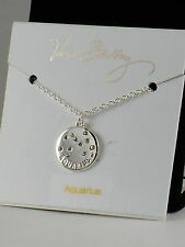 Vera Bradley Silver AQUARIUS Crystal Zodiac Constellation Disc Necklace 15507