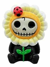 "Ebros Eco Green Sunflower Daisy Furrybones Figurine 3"" H Hooded Costume Skeleton"
