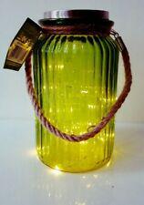Solar Garden Lantern Light Glass Jar Hanging & Rope Handle 20 LED Lamp Green