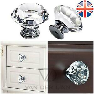 Crystal Door Knob 30MM Crystal Diamond Door Knobs Glass Handles Cupboard Drawer