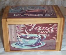 Recipe Box Coffee Bamboo Latte Cappuccino  Cup Blue Sign Kitchen Decor divider C