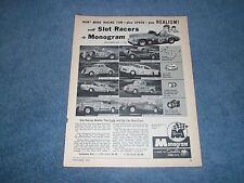 "1964 Monogram 1:32 1:24 Scale Slot Car Racers Vintage Ad ""Now! More Racing Fun"""