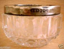 VINTAGE ANTIQUE SILVER METAL RIMMED & CUT GLASS  CONDIMENT POT DISH