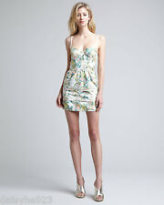 $396 ALICE + OLIVIA STRAPLESS JACQUARD DRESS BUSTIER CORSET MINI XS 2 BRA PRINTS