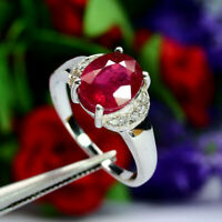 NATURAL 8 X 10 mm. OVAL RED RUBY & WHITE CZ RING 925 STERLING SILVER SZ 8.25