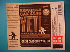 BEER LABEL: GREAT DIVIDE Brewery Oak Aged Yeti Imperial Stout ~ Denver, Colorado
