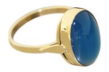 Ring Gold 750 Achat blau klassischer Goldring Achatring Solitärring 18 Karat
