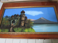 REVERSE PAINTING ON GLASS VERRE EGLISE CASTLE ILLEGIBLE TITLE