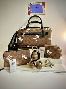ULTIMATE 5 Piece NWT Snoopy Coach  Peanuts Purse, Keychain, Doll, Wallet, Case