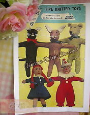 Vintage 40s Toy Knitting Pattern 5 Knitted Toys Teddy, Cat, Rabbit, Doll & Clown