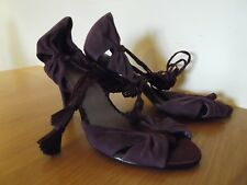 BERTIE Shoes Cadburys Purple Suede Strappy Calf Lace Up Heels UK Size 5