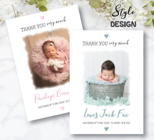 10 Personalised Photo New Baby Thank You Cards / Photo Birth Announcement Cards