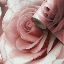 MURIVA  MADISON RASBERRY FLOWER SILVER GLITTER QUALITY DESIGNER WALLPAPER 139521